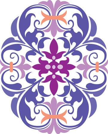 Beautiful oriental design in editable vectors, Colored Vector