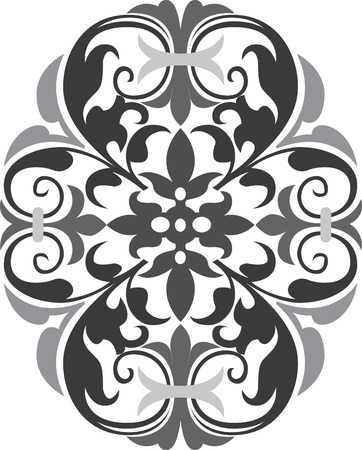 Beautiful oriental design in editable vectors, Grayscale Vector
