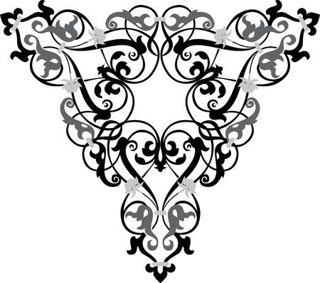 고명: 장식 된 패턴, 벡터 디자인, 그레이 스케일