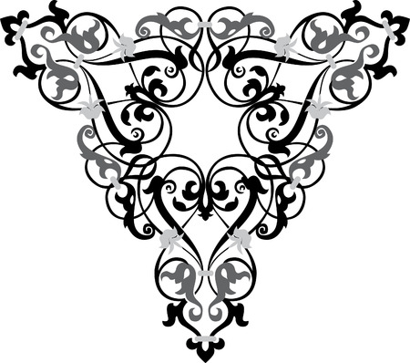 Garnished pattern, vector design, Grayscale Vector