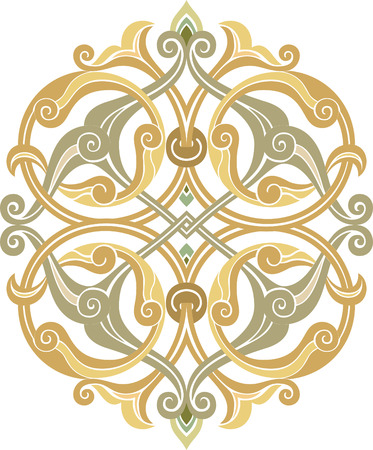 Oriental ornament vector design, Watercolor Vector