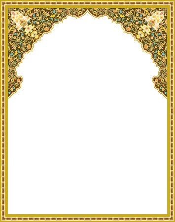 Gedetailleerde oosterse vector frame Stock Illustratie