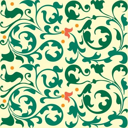 Naadloze patroon, bloemen en bladeren stock vector, gebruikt voor de tegels achtergrond