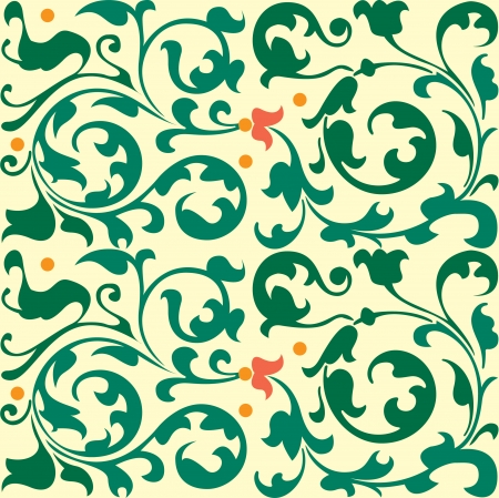 simplify: Seamless pattern, flowers and leaves stock vector, used for tiling background