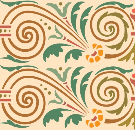 Seamless pattern, flowers and leaves stock vector, used for tiling background Stock Vector - 24147313