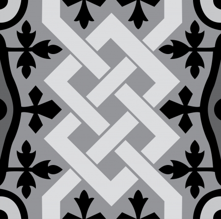 Arabesque seamless pattern, stock vector, use for tiled background, Grayscale Illustration