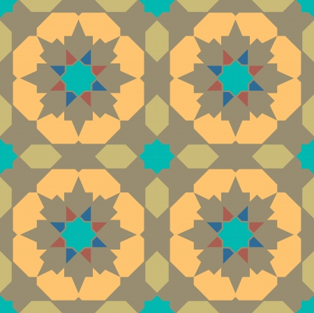 Arabesque seamless pattern, stock vector, use for tiled background, Colored Vettoriali