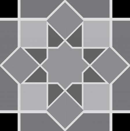 Keramik: Arabesque nahtlose Muster, Vektorgrafik, Verwendung f�r gekachelten Hintergrund, Graustufen Illustration