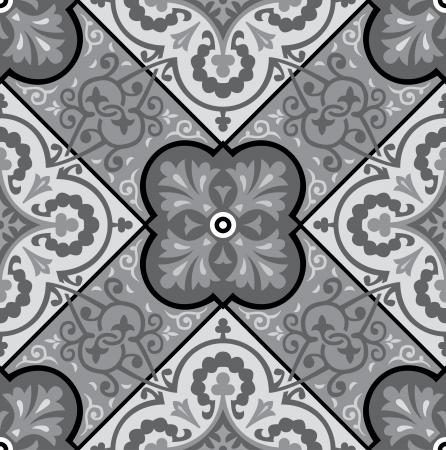Naadloze patroon stock vector, gebruik voor betegelde achtergrond, grijswaarden Stock Illustratie