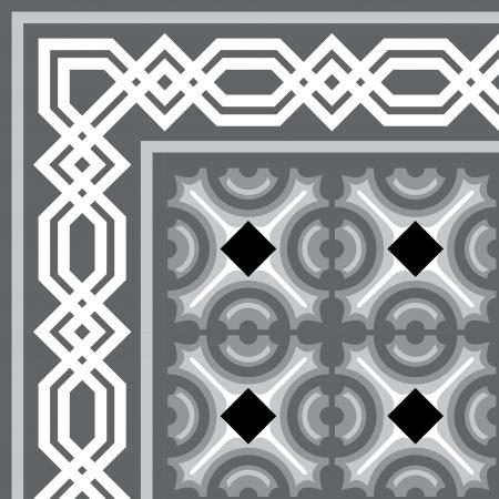 編集可能なベクトル ファイル、グレースケールのフレームとタイル張りブロックの背景  イラスト・ベクター素材