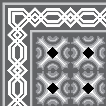 Tiled blocks background with frame, in editable vector file, Grayscale  Vector