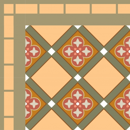 Tiled blocks background with frame, in editable vector file, Colored  Illustration