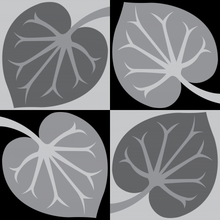 Tiled blocks plant leaves, in editable vector file, Grayscale  Illustration