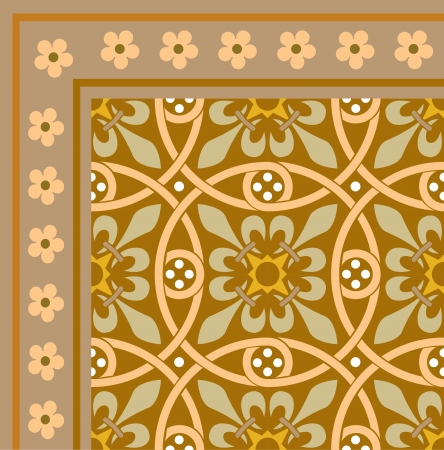 Tiled flowers background with frame, in editable vector file, Colored