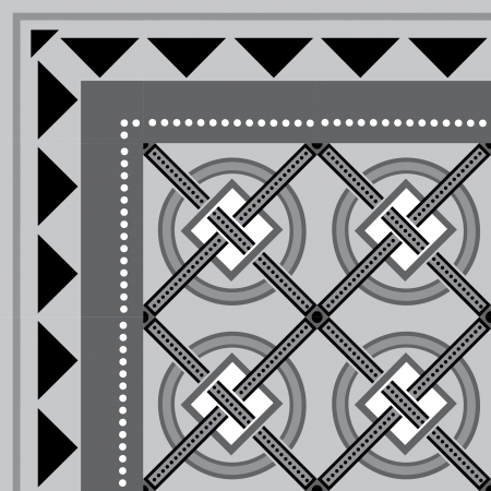 Tiled blocks background with frame, in editable vector file, Grayscale  Vettoriali