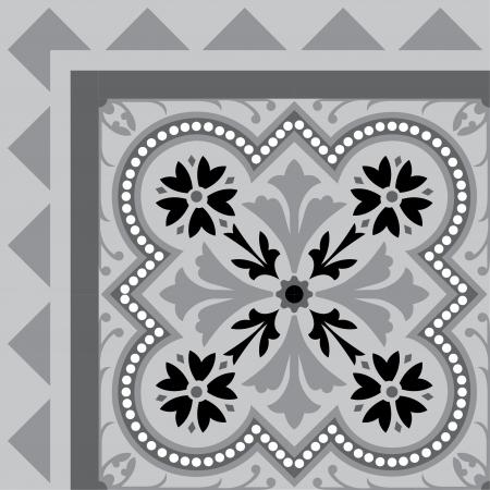 elementi: Fiori di maiolica sfondo con cornice, in file vettoriali modificabili, scala di grigi