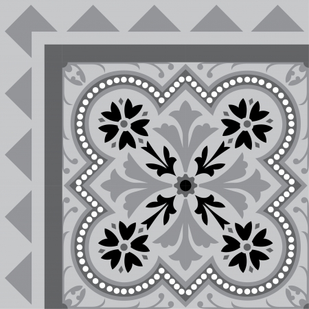 Tiled flowers background with frame, in editable vector file, Grayscale  Illustration