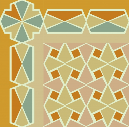 Tiled blocks background with frame, in editable vector file, Colored Stock Vector - 24147682