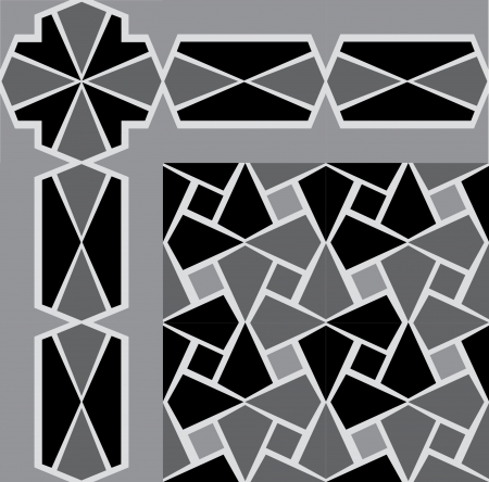 Tiled blocks background with frame, in editable vector file, Grayscale Stock Vector - 24147685