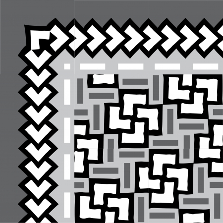 Tiled blocks background with frame, in editable vector file, Grayscale  Illustration