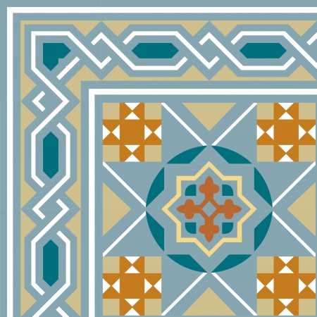 Arabesque tiled blocks with frame, in editable vector file, Colored