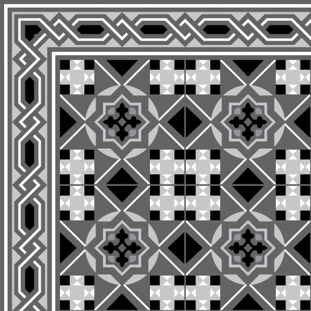 Arabesque tiled blocks with frame, in editable vector file, Grayscale  Vector
