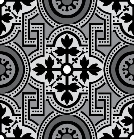 Arabesque tiled blocks, in editable vector file, Grayscale