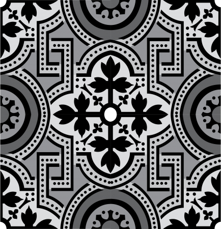 Arabesque tiled blocks, in editable vector file, Grayscale  Vector