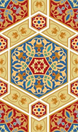 色の編集可能なベクトル ファイル内のタイル張りのアラベスク ブロック