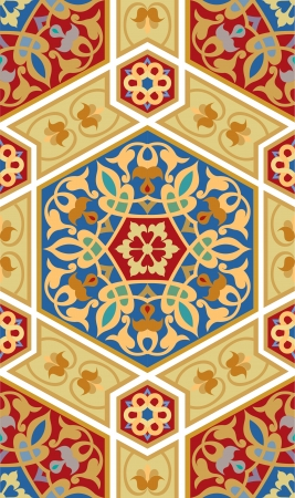 Arabesque tiled blocks, in editable vector file, Colored