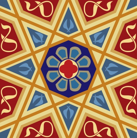 Arabesque tiled blocks, in editable vector file, Colored  Vector