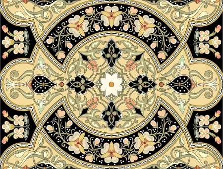 antique wallpaper: Arabesque seamless pattern, stock vector, use for tiled background, Colored Illustration