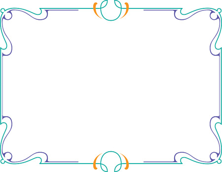Calligraphic frame, page decoration, Colored Vector