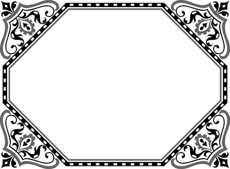 Garnished vector frame with corners, Grayscale Vector