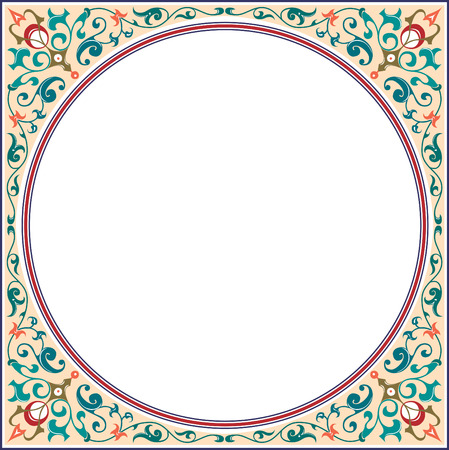 Garnished square frame with corners, Colored Vector