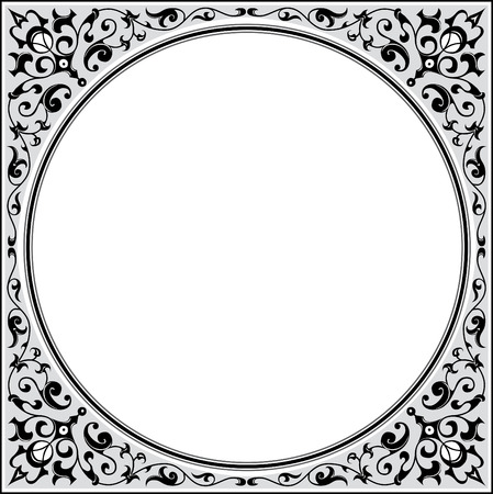 Garnished square frame with corners, Grayscale Vector