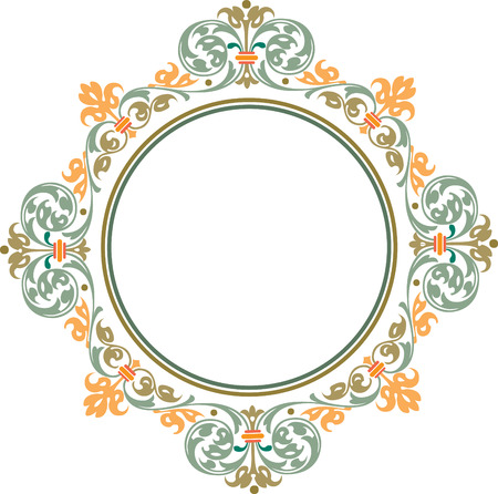 Garnished circle frame, Colored Vector