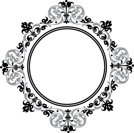grayscale: Garnished circle frame, Grayscale Illustration