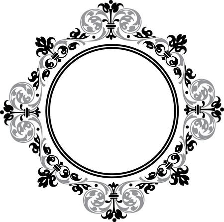 Marco circular adornado, escala de grises