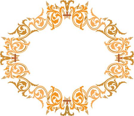garnished: Garnished oval vector design, Colored Illustration