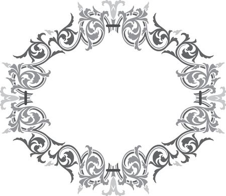 oval: Garnished oval vector design, Grayscale