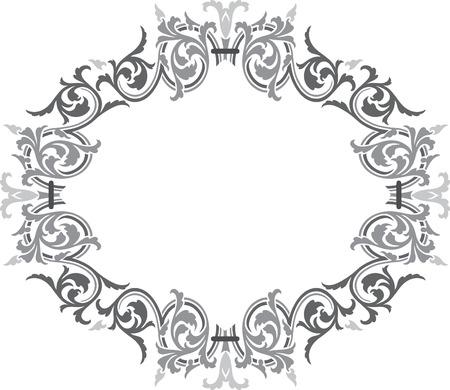 ovalo: Vector de diseño ovalado Adornado, escala de grises