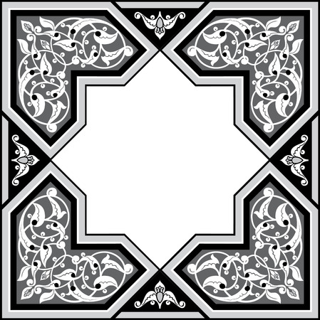Arabesque design element, vector file, Grayscale Vector