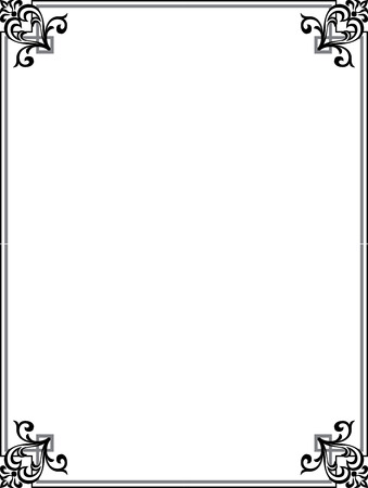 Elegant frame with decorative corners, Grayscale Vector