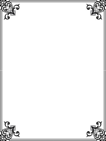 antique frames: Marco elegante con las esquinas decorativas, escala de grises