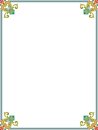 Elegant frame with decorative corners, Colored Vector