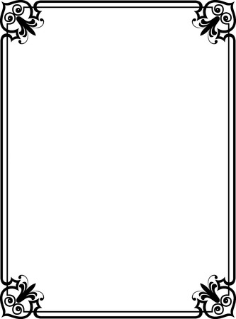 collections: Elegant frame with decorative corners, Monochrome Illustration