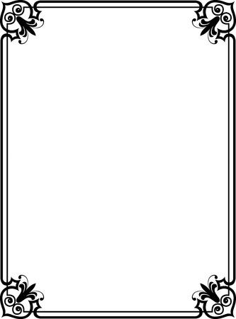 fila di persone: Elegante cornice con angoli decorativi, Monocromatico Vettoriali