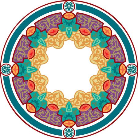 garnished: Garnished circle design, Colored Illustration