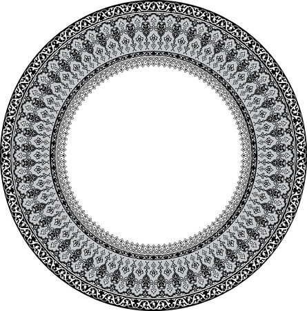 Design of detailed ornament circle, Grayscale Vector